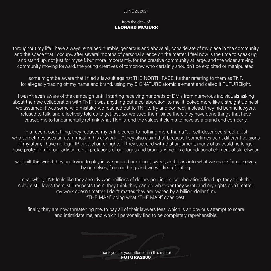 Futura public declaration against The North Face regarding their lawsuit.