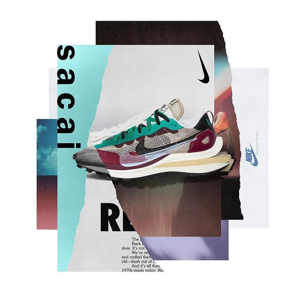 This is a pair of Vaporwaffle Sacai Villain Red Neptune Green sneakers from Nike and Sacai collaboration.